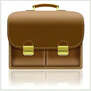 Leather-Textured, Realistic Briefcase Icon