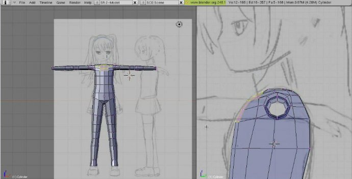 Model, UV, and Texture a Complete Manga Character