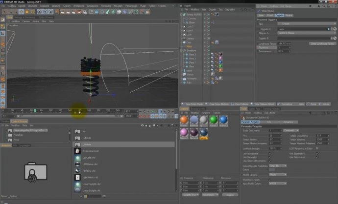 Cinema 4d R12 - Dynamics: Spring