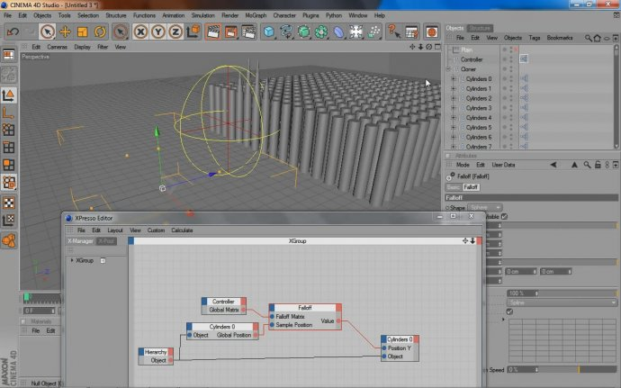 Cinema4D XPresso: Falloff Node