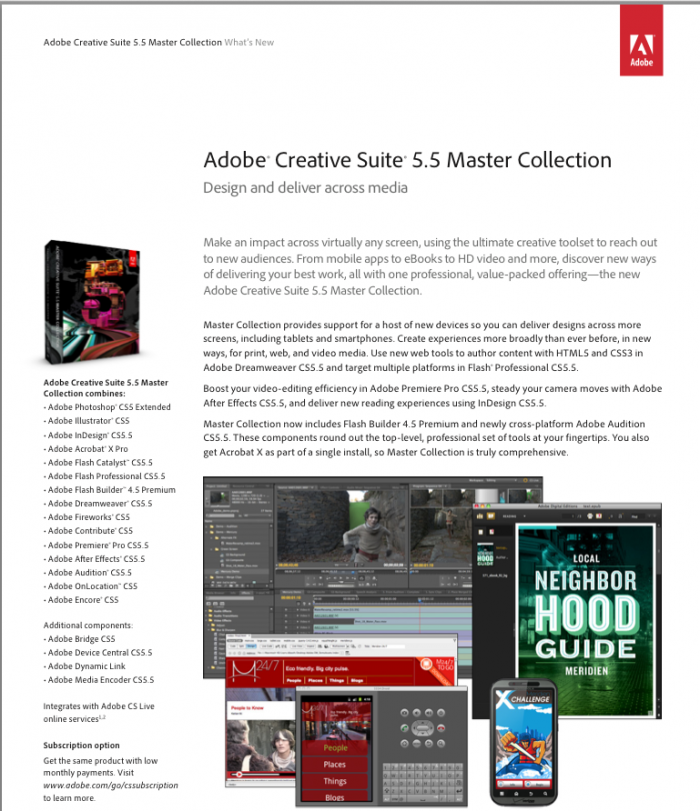 Adobe Creative Suite 5.5 Master Collection CS5.5 - Mac ESD (English)