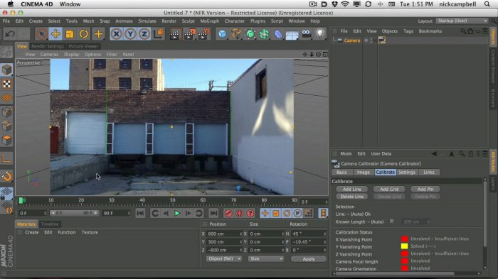 Cinema 4D урок: Захват и настройка инструмента Camera Calibration