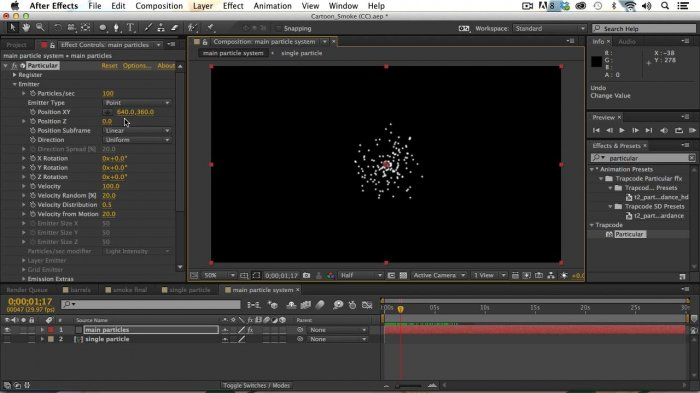 Мультяшный дым с Trapcode Particular в After Effects