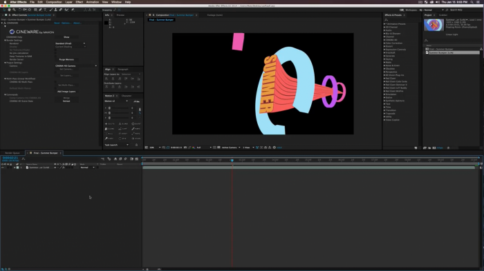 ����������� ������ �������� � After Effects � Cinema 4D Lite