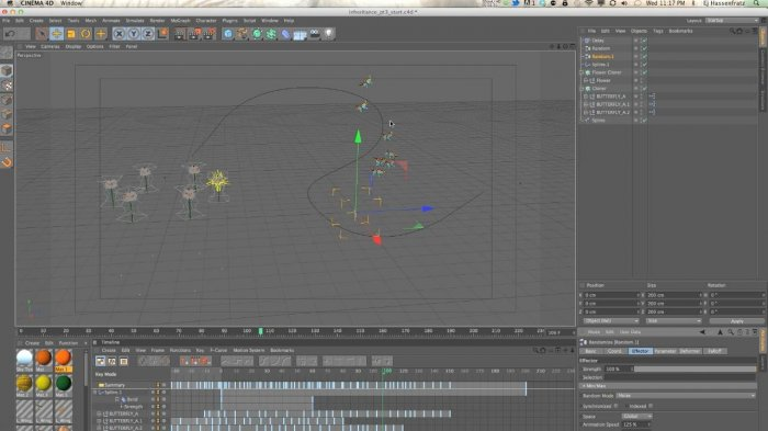 Использование Inheritance Effector в Cinema 4D