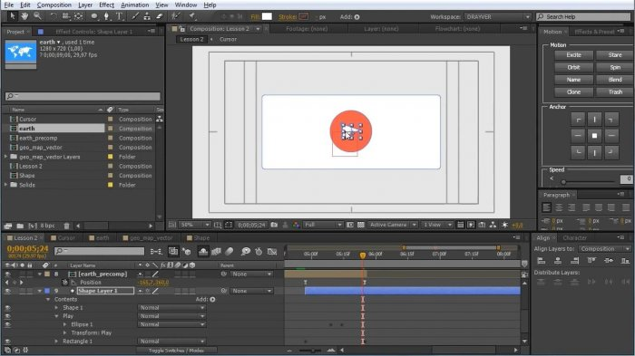 Создание простого шейпового видео в After Effects
