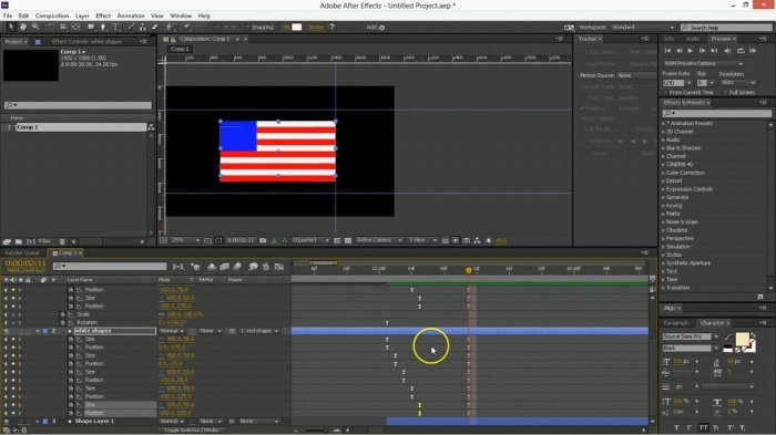 Моушн анимация флага в After Effects