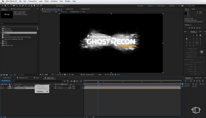 Анимация заставки Ghost Recon: Wildlands в After Effects